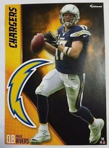 """Philip Rivers 2016 Fathead Tradeable 5"""" x 7"""" Los Angeles Chargers team logo #38"""