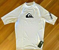 Quiksilver Mens Short Sleeve Rash Guard Medium UV Shirt Surf Hawaii White New