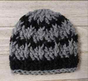 Crochet Preemie baby hat  beanie boy gray black handmade