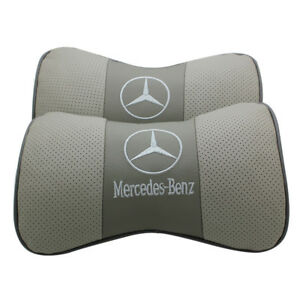2Pc Gray Real Leather Car Seat Neck Cushion Pillow Car Headrest Fit For Benz Car