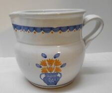 Pottery Pitcher White with Blue Vase Yellow Flowers Portuguese Marked MM Vintage