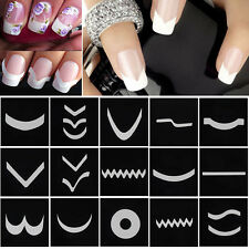 18 Sheets French Manicure DIY Nail Art Tips Guides Stickers Stencil Strip Pro uk