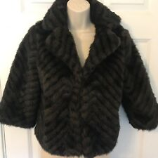 Ladies Mossimo Black Brown Faux Fur Striped Lined Fall Winter Coat Small