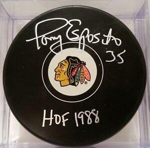 TONY ESPOSITO HOF 1988 Chicago Blackhawks AUTOGRAPHED Signed Hockey Puck NHL PSA