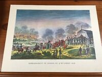 "Napoleon Battle Engraving Bombardment Of Madrid 1808 17.5"" X 13"" Excellent"