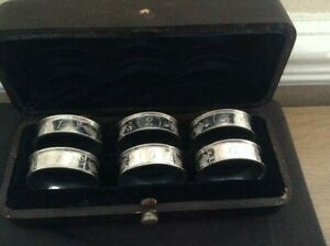 ANTIQUE SET OF 6 SOLID SILVER NAPKIN RINGS in ORIGINAL CASE - Dated 1886