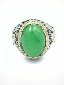 Natural Green Agate Stone Sterling Silver 925 Handmade Men's Ring Size 9.5