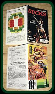 LOT OF 2 DIFFERENT MILWAUKEE BUCKS BASKETBALL POCKET SCHEDULES 1978-79 & 1979-80
