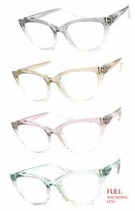 New Cat Eye Translucent Colorful Frame Full Lens (Not Bifocal) Reading Glasses