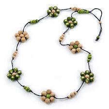 Long Cream/ Green Wooden Flower Black Cotton Cord Necklace - 110cm L