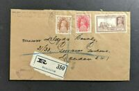 1939 Bhagalpur India Registered Cover to London England Was Seal