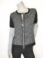 Coco + Carmen S M Color Block Zip Cardigan Sweater Black Gray Long Sleeve NWOT