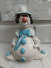 vintage signed Gaites ceramic clown figurine blue white pottery art