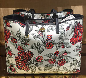 Tory Burch Large Coated Canvas Cameron Tote Bag Green Acre Floral No.37046