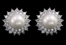 Stunninng GIFT 9mm Pearl Cluster White Gold Plated Stud CRYSTAL EARRINGS UK