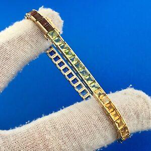 Estate 14K Yellow Gold Multi Gemstone Princess Cut Rainbow Tennis Bracelet