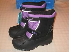 TOTES JACKIE YOUTH GIRLS PURPLE BLACK SNOW WINTER BOOTS SIZE 4 MED New in Box
