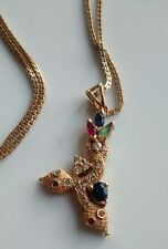 Saudi Gold Necklace Twin Serpant Ruby Sapphire Emerald Diamond Gift Saudi Prince