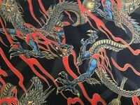 Golden Tatsu dragons black metallic Alexander Henry  fabric