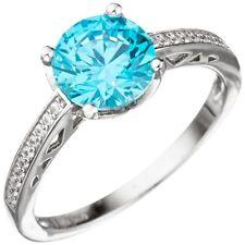 Ring Damenring mit Zirkonia türkis blau hellblau facettiert 925 Silber Fingerrin
