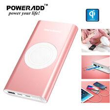 Poweradd 10000mAh Power Bank Qi Wireless Portable Phone Charger External Battery