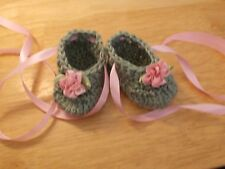 BABY SHOES HANDMADE CROCHET 0-3 MONTHS Sage(Green) & Pink - ROCKY MOUNTAIN MARTY