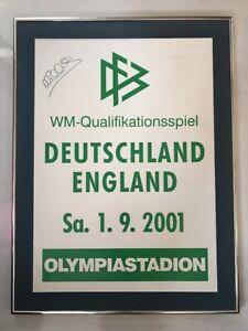 Michael Owen Signed 2001 Germany v England 5-1 Game RARE Poster AFTAL/UACC RD