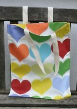 Handmade canvas tote shopper bag hearts
