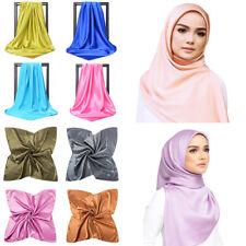Women 90*90cm Solid Color Large Square Satin Silk Muslim Hijab Head Wrap Scarves