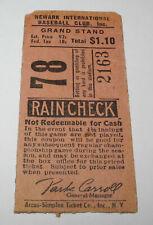 1930's Newark Bears Baseball International League Yankees Ticket Jacob Ruppert