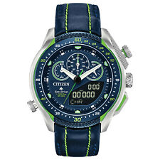 New Citizen Eco-Drive Promaster SST Blue Leather Strap Mens Watch JW0138-08L