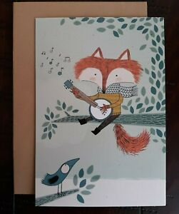 HIPSTER BLANK CARD - American Greetings Card - Fox playing Banjo with Scarf