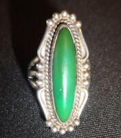Vintage Navajo - Native American (Sterling Silver) Green Turquoise Ring / Size 5