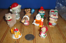 Lot (10) Vintage Hallmark Merry Miniatures Figurines Santa Cat Boo! Ghost etc
