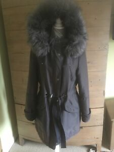 NEXT BROWN WINTER COAT WITH LARGE FUR HOOD 12