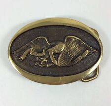 """1976 Solid Brass American Eagle """"United We Stand"""" Belt Buckle Heritage Mint"""