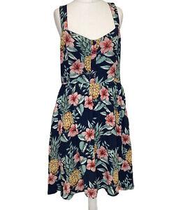 Ladies Fat Face Navy Pineapple Floral Print PocketsSun Short Dress Size 12