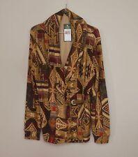 Lauren Ralph Lauren Tribal Aztec Print Cotton front buckle shawl Blazer, Large,