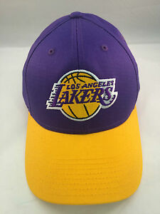 LOS ANGELES LAKERS PURPLE/YELLOW TEAM COLORS NEW PRE SHAPED CAP BY ADIDAS