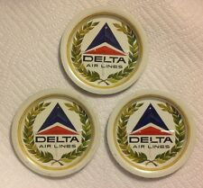 Vintage Delta Airlines Metal Coasters~Lot Of 3