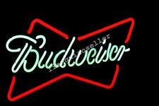 Budweiser RED BOWTIE REAL GLASS NEON SIGN BEER BAR PUB Garage LIGHT