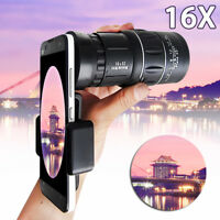 Hiking Monocular Camera 16x52 Zoom HD Scope Hunting Phone Holder Telescope Lens