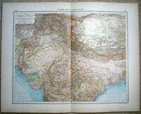 Northern India: Original 1899 Map by Velhagen & Klasing. Antique