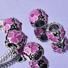 5Pcs Silver Filled Enamel Charm Bead pink crystal For European Bracelet
