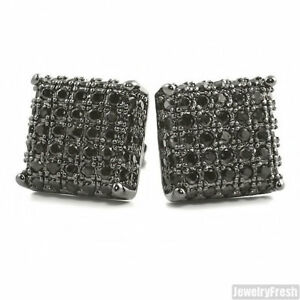All Black Lab Made Onyx 3D Iced Out CZ Square Mens Earrings