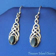 Celtic Endless Knot w/ Onyx 925 Sterling Silver French Wire Hook Dangle Earrings