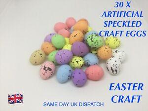 30 MINI SPECKLED CRAFT EASTER EGGS BONNET DECORATION ART & CRAFTS MIX COLOUR
