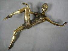Vintage Bronze Woman Open Arm Pointed Pose In Bathing Suit Figurine Statue -SALE