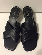 Liz Claiborne Flex Sash Black Leather Sandals Slides Shoes Size 7-Medium
