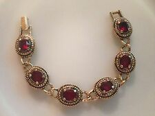 Vintage Sarah Coventry Bracelet *Gold Tone Panels With Red Rhinestones*